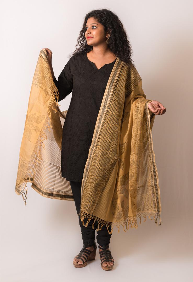 Charcoal Block Print Maheshwari Cotton Silk Beige Dupatta