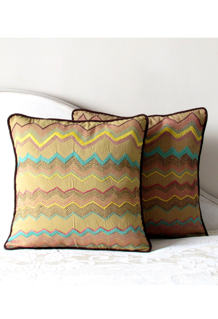 Beige Tribal Hand Embroidered Square Cushion Covers - Set of 2