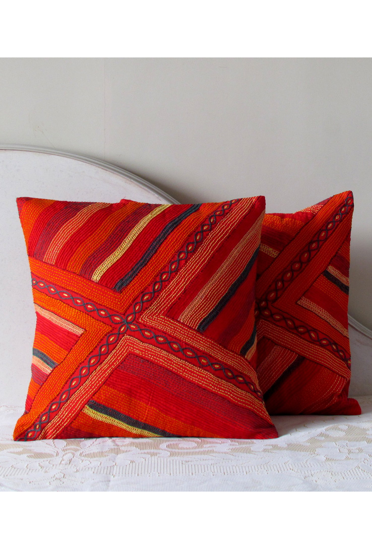 Red Stripes Hand Embroidered Cushion Cover