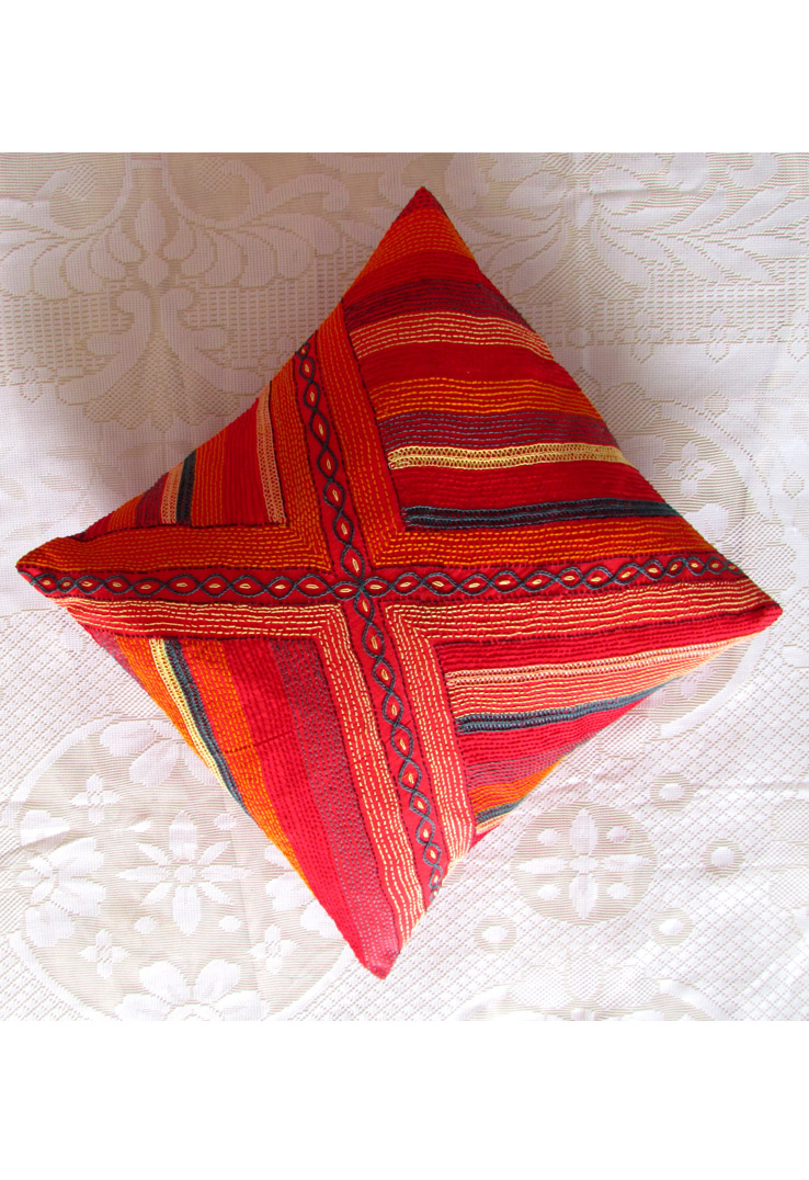 Red Tribal Hand Embroidered Striped Square Cushion Covers - Set of 2