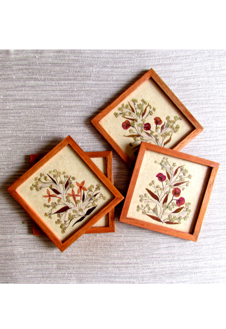 Cherryflowers Off White Wood and Handpressed Leaves Coasters - set of 4