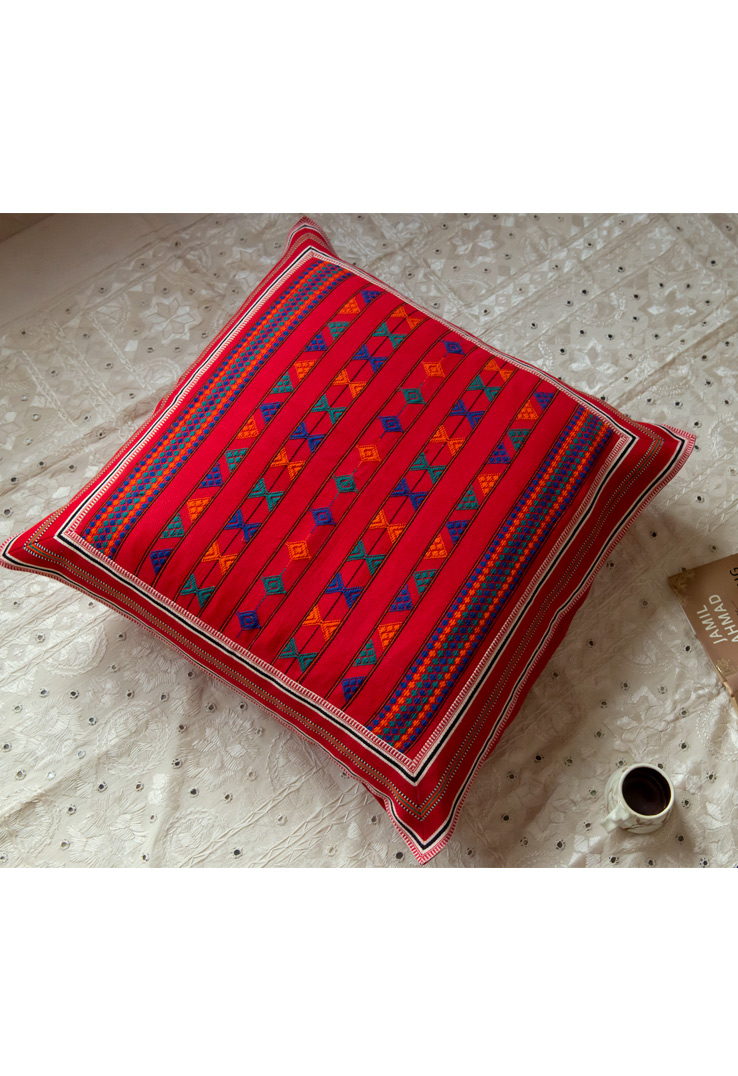Blue and Red Kutch Weave Floor Cushion Covers