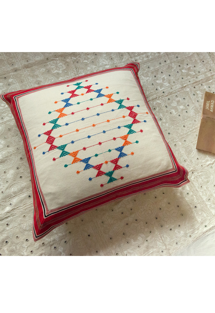 Red and White Kutch Weave Floor Cushion Covers