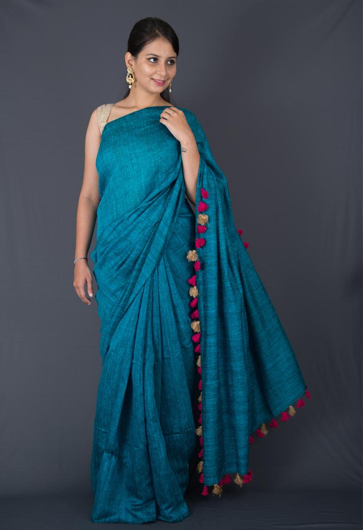 Steel Blue Matka Silk & Linen Bengal Handloom Saree