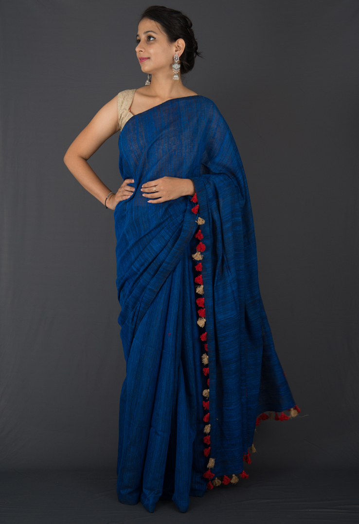 Indigo Blue Matka Silk and Linen Saree