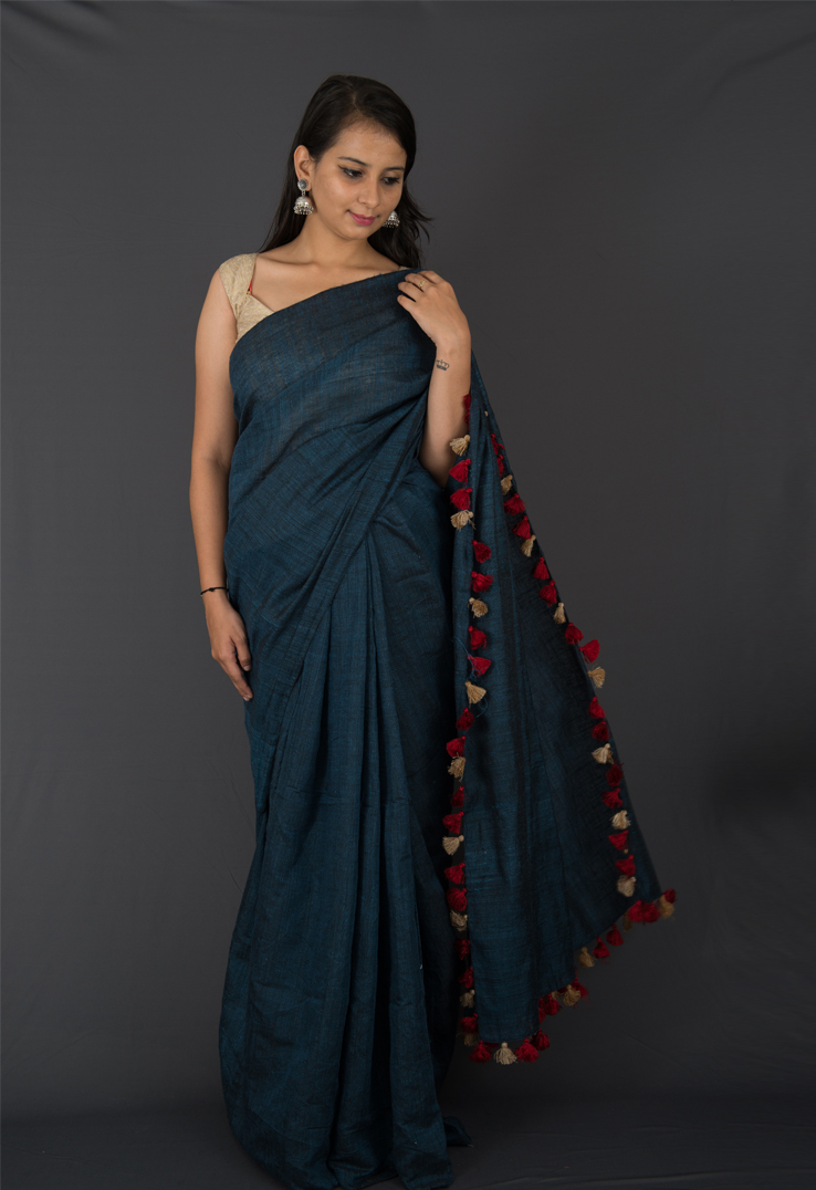Steel Grey Matka Silk and Linen Saree