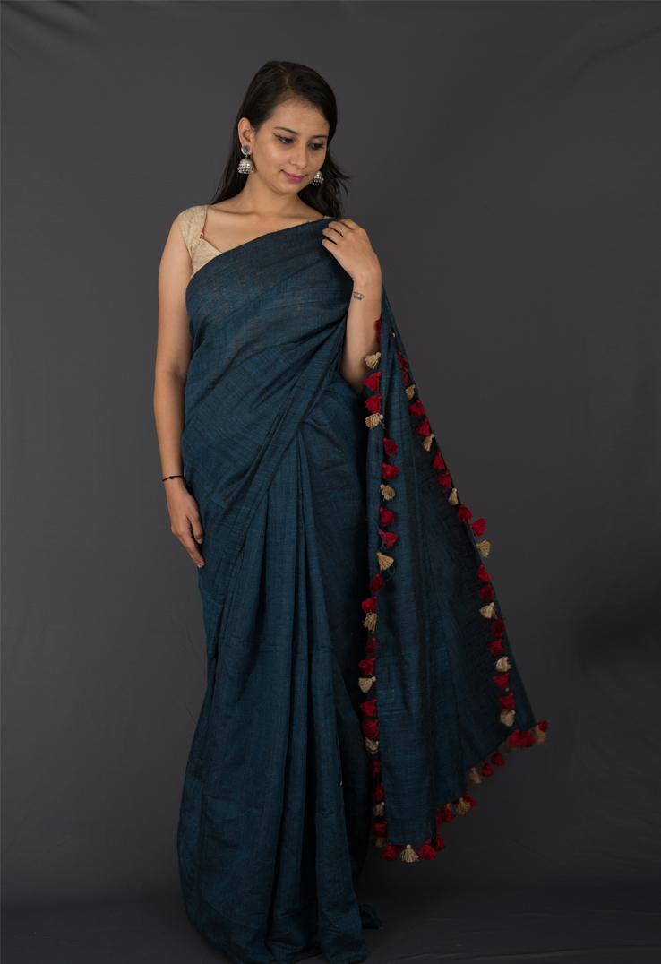 Steel Grey Matka Silk & Linen Bengal Handloom Saree