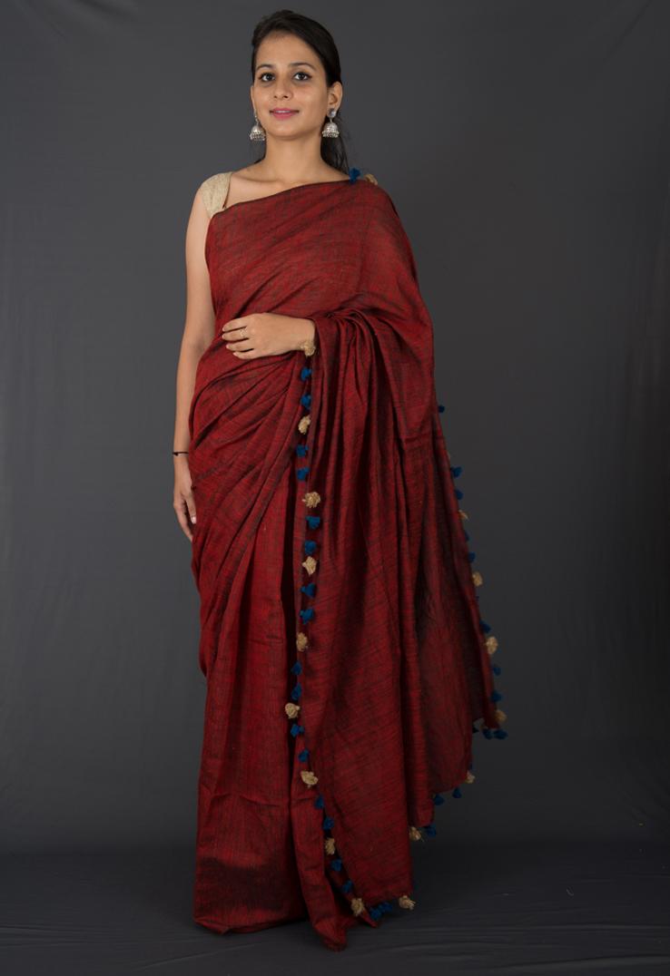 Deep Red Matka Silk & Linen Bengal Handloom Saree