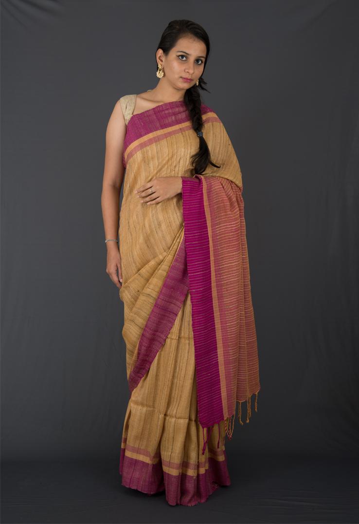 Jute and Purple Textured Ghicha Silk Saree