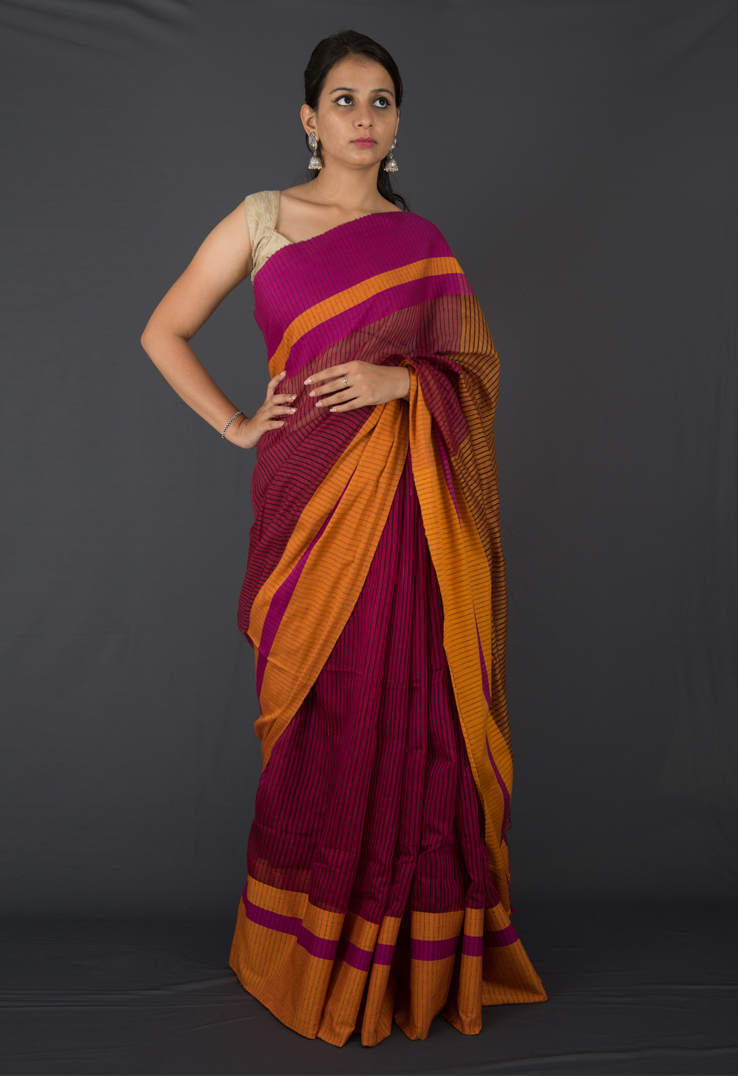 Mustard and Purple Striped Ghicha Silk Saree
