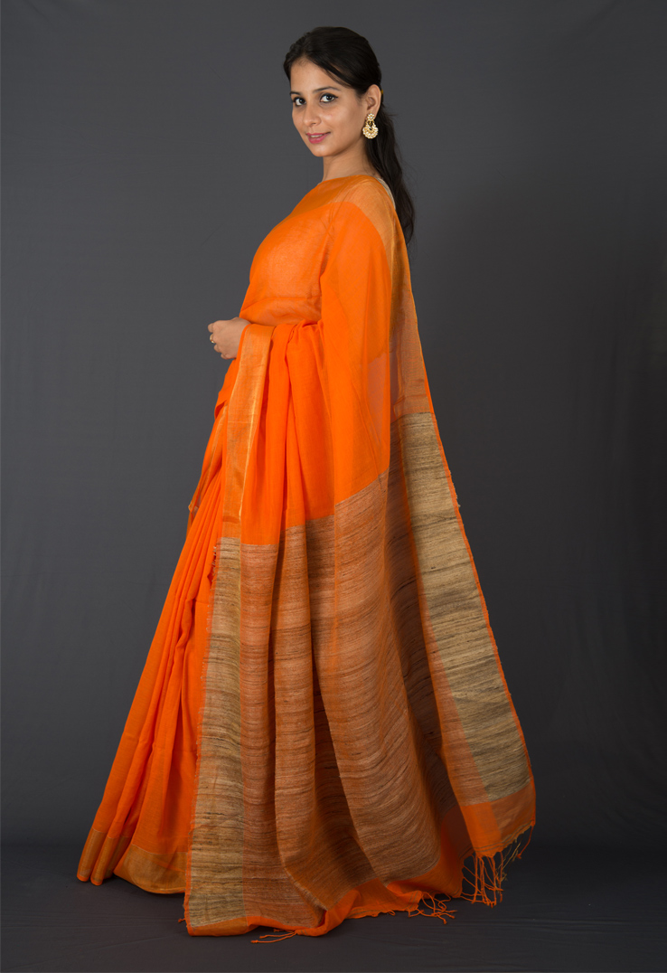Tangerine Cotton Silk Saree with a Textured Palla