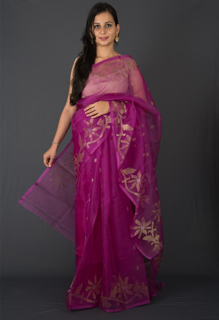 Purple Cotton Silk Jamdani Saree with Gold Bootas