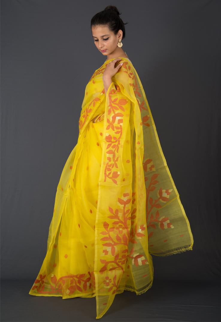 Mango Yellow Bengal Silk Jamdani