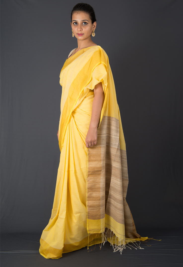 Creamy Yellow Cotton Silk Saree
