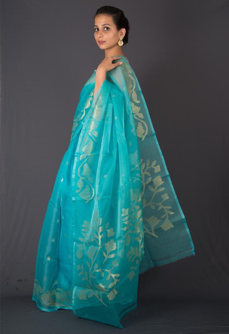 00ffbc5900 Sky Blue Bengal Jamdani Silk Saree