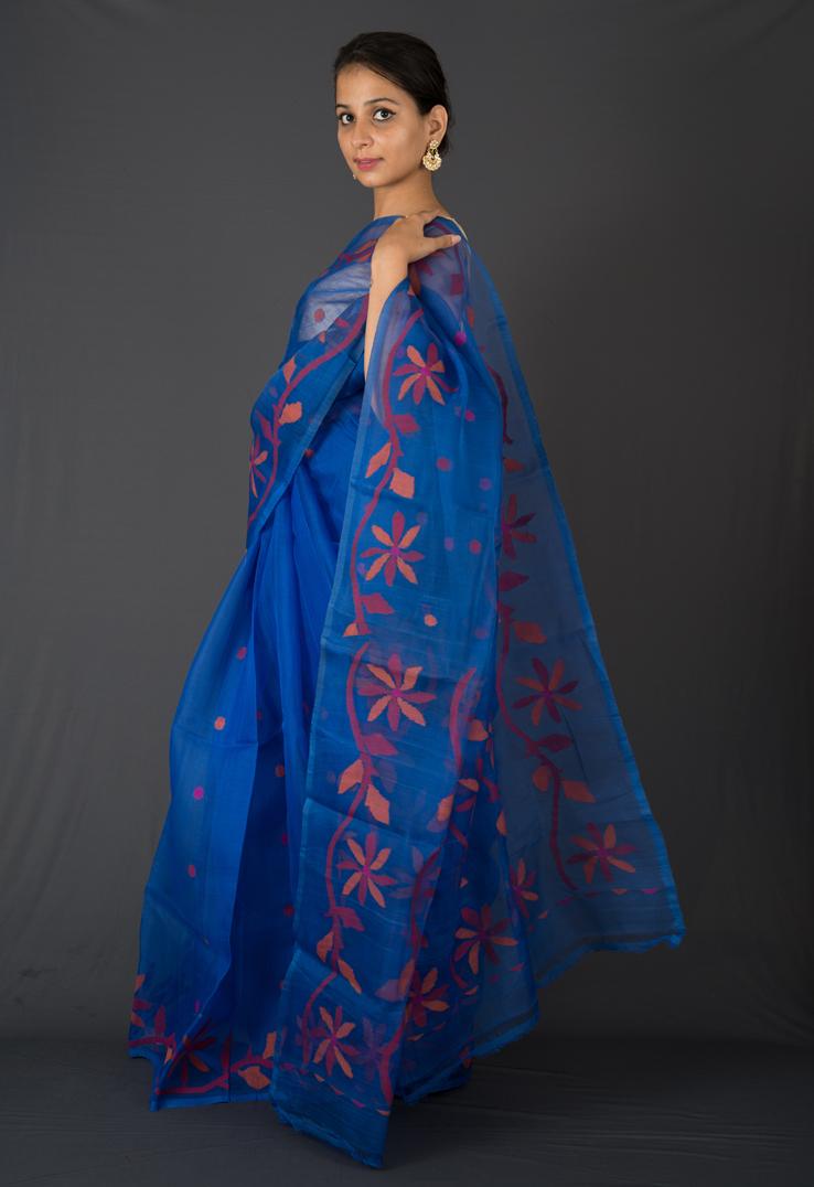 Indigo Jamdani Cotton Silk Saree