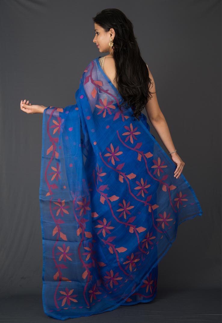 Indigo Blue Bengal Jamdani Silk Saree